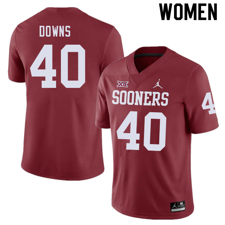 Women #40 Ethan Downs Oklahoma Sooners College Football Jerseys Sale-Crimson
